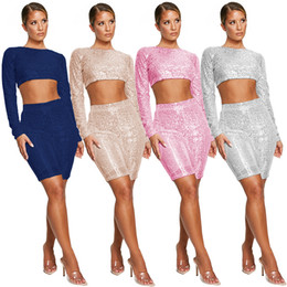 $enCountryForm.capitalKeyWord Australia - 2019 new multi-color sexy Tracksuits European and American women's sequins nightclub two-piece suit Long Sleeve Night Club Outfits
