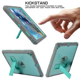 Wholesale For Ipad th th Pro New Air2 Air3 Shockproof Full Body Rugged Glitter Hybrid Heavy Duty Universal With Kickstand Case Cover