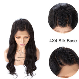 $enCountryForm.capitalKeyWord Australia - 4x4 Silk Base Lace Closure Human Hair Wigs Natural Color Body Wave 130% Density Brazilian Human Hair Wigs