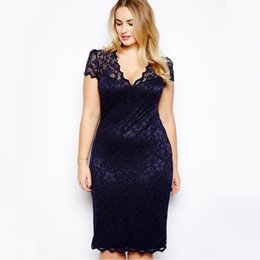 b92eeb881144 4XL Plus Size Fashion Lace Dress Women Oversize Sexy Midi Dress V-Neck  Floral Lace Plus Size Bodycon Pencil Dress Dark Blue