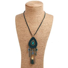 peacock chain necklace Australia - New style Tassel Peacock Feather Bohemian Long Necklace Shell Sweater Leather Chain Jewelry Exaggerated Design Drop shipping