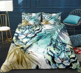 tiger beds NZ - Tropic Tiger Bedclothes Animals print pattern Duvet cover set Green Bedding set with pillowcase bed Home Textiles dropship
