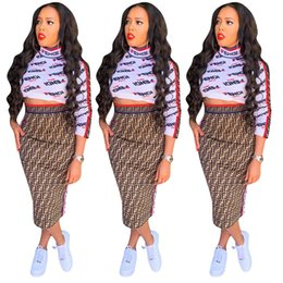 $enCountryForm.capitalKeyWord Australia - womens designer winter shirt+dress long sleeve T-shirt+skirt bodycon 2 piece dress fashion high quality skirt klw2097