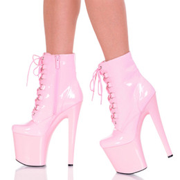 dance ankle boots NZ - Ankle Boots Pink Lace Up Night Club Pole Dancing Shoes For Women 20Cm High Heels Thick Platform Heel Boots White Party Shoes Boots