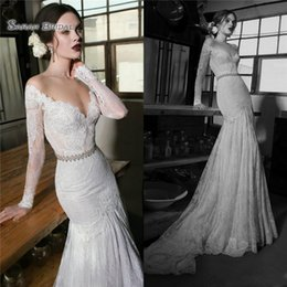 843d8701d94 Berta Long Sleeves Mermaid Wedding Dresses Bridal Gowns Sweep Train Boho  Mermaid Lace Bride Gown robe de marriage