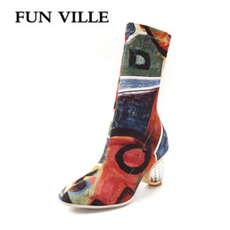 $enCountryForm.capitalKeyWord Australia - FUN VILLE Autumn winter New Style Colorful Women Ankle Boots Lycra Stretch Fabric High heels Boots sexy ladies shoes Round toe