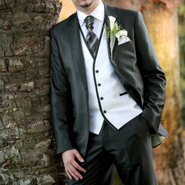 Bridal Suits Australia - 2019 Two Buttons Business Men Suit Best Mam Suit Blazer+Pants+Vest 3 Piece Groom Tuxedos Wedding Tuxedos for Bridal Party