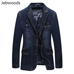Wholesale jeans blazers for sale - Group buy Denim Jacket Men Spring Blazer Suits Jacket Mens Business Leisure Suits Cowboy Westerner Male Jeans Coat Multi Pocket Size L XL