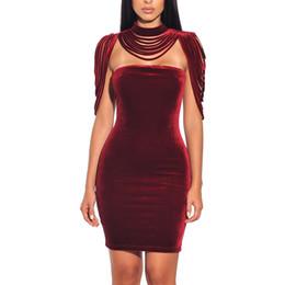 $enCountryForm.capitalKeyWord UK - Women Fashion Sleeveless Mini Dress Vintage Outfit Casual Dress Removable Collar Stretch Velvet Strapless Bodycon Dress designer clothes