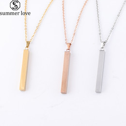 Wholesale Engraving Plate Gold 18k Australia - Fashion Gold Bar Pendant Necklace Stainless Steel Gold Rose Gold Silver Solid Blank Bar Charm Pendant For Buyer Own Engraving Jewelry