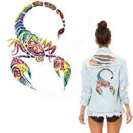 China New West Coast style Multicolor Scorpion 30*20cm stickers iron on patches DIY patch on clothes jacket thermal transfer suppliers