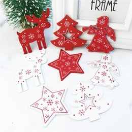 christmas tree angel Canada - NEW 100pcs White Red Christmas Tree Ornament Wooden Hanging Pendants Angel Deer Christmas Tree  Star Christmas Home Decorations