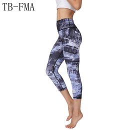 Cotton Print Material NZ - Printed Yoga Pants Women Top Quality High Elastic Waist Thick Material Exercise Fitness Running Tights Push Hips Compression #799410