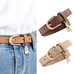 ladies black leather trousers UK - Women Casual Leather Vintage Belts Ladies Small Key Decoration Gold Buckle Belts Women's PU Belt For Jeans Trousers