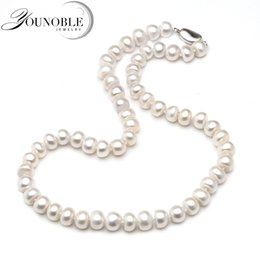 wedding gifts singapore 2019 - Genuine Freshwater Pearl Necklace Women,Real Wedding White Pearl Necklaces Anniversary Gift in Box cheap wedding gifts s