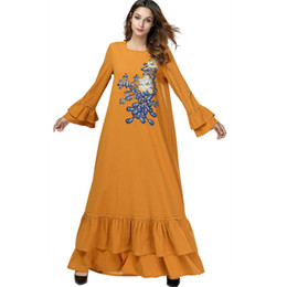 9d37178ef22 Large Size Clothing Women Flare Sleeve Flower Embroidery ruffle Casual  Loose Fall Fashion Spring Muslim Party Lomg Maxi dress robe
