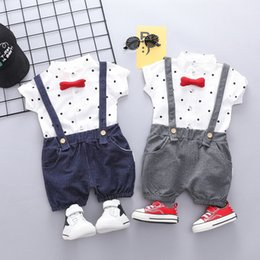 $enCountryForm.capitalKeyWord Australia - High quality Toddler Baby Kids Boys Dot Tops Solid T-shirt Overall Short Pants Outfits Set Summer Clothes Dropping Roupa Menino