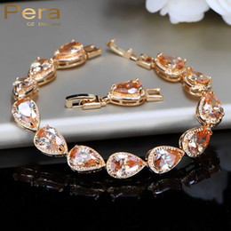 $enCountryForm.capitalKeyWord Australia - Pera Classic Gold Color Connected Champagne Cubic Zircon Bridal Wedding Charm Bracelet Jewelry Accessories For Bridesmaid B038
