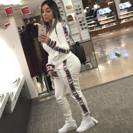 TracksuiT seT female online shopping - Sexy Women Two Piece Set Sports suit Female Tops High Waist Long Pants letter Printed Tracksuit Fashion spring Autumn Women Clothing