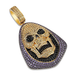 $enCountryForm.capitalKeyWord UK - Hip Hop Iced Out Grim Reaper Skull Head Necklace Gold Silver Plated Charm Pendant Necklace Icy Chain