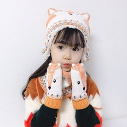 knitted childrens spring hats UK - Baby Knitted Hat New childrens Cartoon Fox Ear Cap Baby Glove Scarf Three Pieces Suit Thickened Snow Knit Hat 2019 Gifts