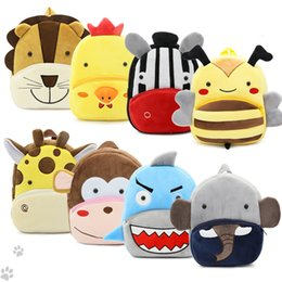 cute mini backpacks wholesale Canada - Klsyanyo Mini Cartoon Cute Kid 15 Kinds Animal Plush Toys School Backpacks Children's Gifts Boys Kindergarten School Bag