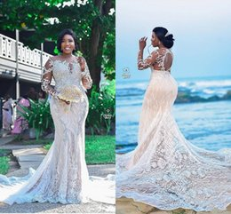 white long sleeve wedding reception dress NZ - Plus Size Long Sleeve Beach Wedding Dresses 2020 Jewel Neck Lace Applique African Sheer Neck Mermaid Bride Garden Wedding Reception Gown