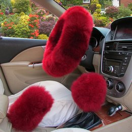 black fur steering wheel cover Australia - Long Plush Warm Steering Wheel Cover Woolen Handbrake Car Accessory Auto Fur 3pc