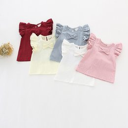 Children White Tees Australia - 2019 Summer Baby Girls Blouses White Tops Kids Shirts Cute Sweety Baby Gilrs Tees linen Shirt with bow Casual Children Clothing