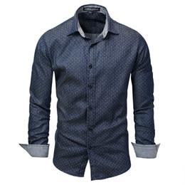 $enCountryForm.capitalKeyWord UK - Business men long-sleeved men's denim shirts for new casual men shirt, dot shirts, cotton shirt men 120
