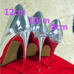 stiletto party office shoes Australia - Hot Sale-Sales Women Shoes Pumps 12 cm Stiletto Heels Pointed Silver High heel Sexy Patent Leather Bridal Shoes Wedding Party Dress Shoes