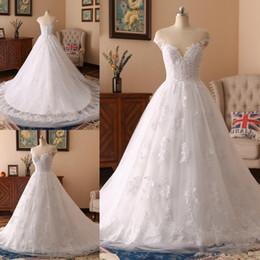 Nude scoop Neck dress online shopping - Newest Scoop Neck A line Wedding Dresses Button up Back Appliques Chapel Train Tulle Bridal Wedding Gowns Vestido De Novia Bride Dresses