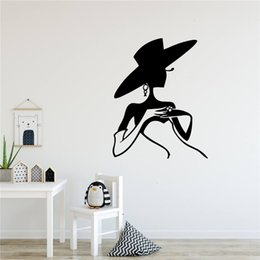 girls nursery decorations UK - Diy Fashion lady Beautiful Girl Environmental Protection Vinyl Stickers for Living Room Company School Supermarket Decoration