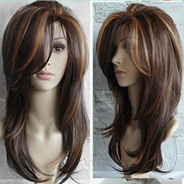 long wavy sexy brown hair UK - Stylish Women Dark Brown Long Straight Partial Bangs Full Wig Heat Resistant Party Hair Shaggy Wavy Curly Sexy Wig