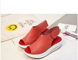 c725eb6a982631 Red thick heel stRap online shopping - Summer Sandals Women Shake Shoes  Thick Wedges Slope Platform