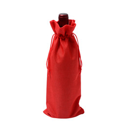 wholesale reusable drawstring bags UK - 15*35cm Rustic Jute Burlap Wine Bags Drawstring Wine Bottle Covers Reusable Bottle Wrap Gift Pouches Package Jewelry Bag