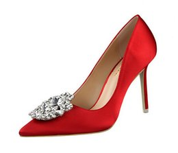 China Beautiful Lady Dress Shoes Rhinestone Design Women Pointed Toe Thin High Heels Satin Sexy Party Festival Wedding Shoes Women Pumps supplier ladies beautiful pumps suppliers