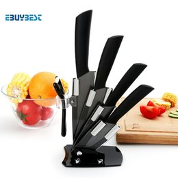 "ceramic knife chinese Canada - High Quality Kitchen Knife Black Blade Kicthen Ceramic Knife Set 3 ""4 \""5 \""6 \""Inch +Peeler +Acrylic Holder  Stand"