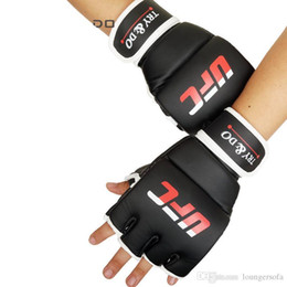 Finger glove Fight online shopping - Half Finger PU pair Fighting Boxing Gloves Protection High Elastic Bounce Sleeve Haf Finger Design For Summer Sweat Absorb Mittens sh ZZ