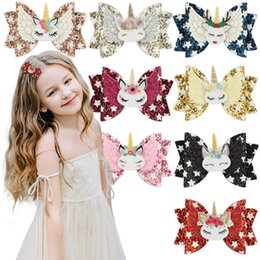 $enCountryForm.capitalKeyWord Australia - Unicorn hair bows girls hair clips glisten angel's wings baby BB clips sequin princess kids Barrettes hair accessories for girls A5672