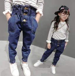 cute baby girl denim pants 2019 - New Girls Jeans 2018 Spring Autumn Cute Trousers Baby Denim Pants High Quality Kids Clothing Children's Fashion Lac