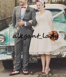 $enCountryForm.capitalKeyWord Australia - Modern Plus Size short Wedding Dresses Pleated 50's Vintage Satin Lace Short Sleeve A Line Party Bridal Gowns Princess