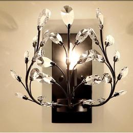 $enCountryForm.capitalKeyWord Australia - Crystal Bedroom Bedsides Wall Sconce Luxury Gold Palace Gate Crystal Leaf Wall Lights European Living Room Lighting Fixture