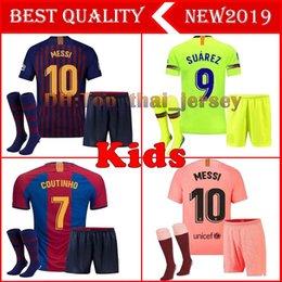 Barcelona 2018 MESSI SUAREZ Crianças Jersey futebol 2019 Camisas Azul Dembele Messi INIESTA casa camisa de futebol 18 19 crianças Kit