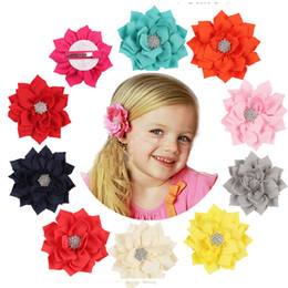 $enCountryForm.capitalKeyWord Australia - 1PC Lotus Baby Girls Headband Satin Baby Infant Diamond Children Girls Hairpins Baby Hair Clips Flower Hair Accessories W132