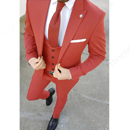 pink tuxedo costume Australia - Latest Design Costume Homme Groom Wedding Dress Men Slim Fit Custom Tuxedo One Button Men's Suit 3 Pieces Jacket Pant Vest