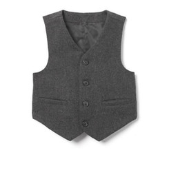 Rustic Vests Australia - 2019 Grey Vintage Rustic Wedding Vest Brown with Leather Effect Buttons Winter Single Breasted Slim Fit Groom's Wear Two Pockets