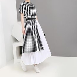 $enCountryForm.capitalKeyWord Australia - New 2019 Korean Style Fake Two Piece Women Summer A-Line Striped Dress With Sashes Ladies Cute Wear Long Pleated Dress Robe 5195