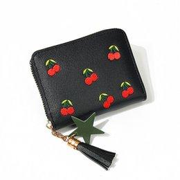 $enCountryForm.capitalKeyWord Australia - Women Wallet Faux Leather Tassel Pendant Money Wallets Fashion Clutch Pouch Bag Lady Zipper Cherry Purses Holders PU
