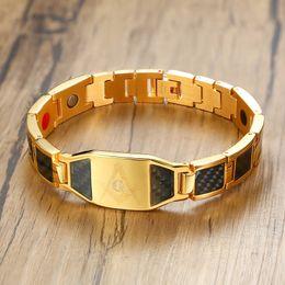 $enCountryForm.capitalKeyWord NZ - Vinterly Magnetic Bracelet Men Stainless Steel Health Energy Hologram Bracelets Gold-color Carbon Fiber Id Bracelet For Men 2018 MX190727
